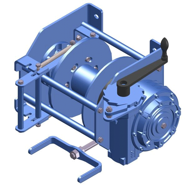 Zeichnung einer manuellen Drahtseil-Ankerwinde MWA-250-KB