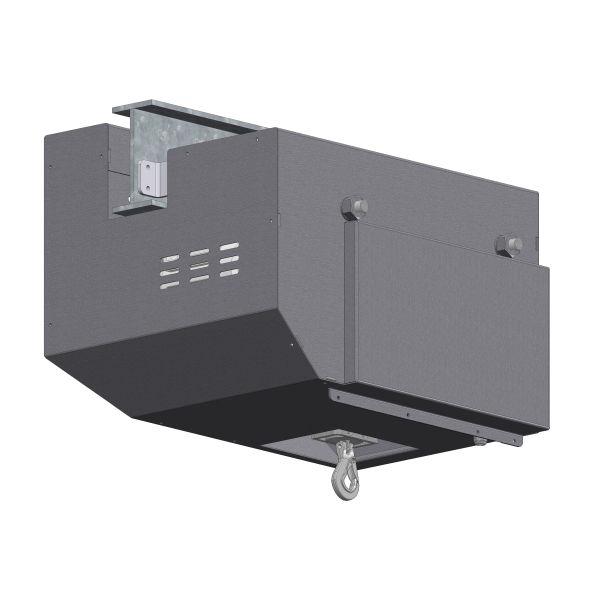 Zeichnung einer elektrischen Edelstahl-Gurtwinde EWB-500 für Reinräume
