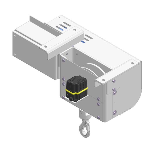 Zeichnung einer elektrischen Edelstahl-Gurtwinde EWB-600 für Reinräume